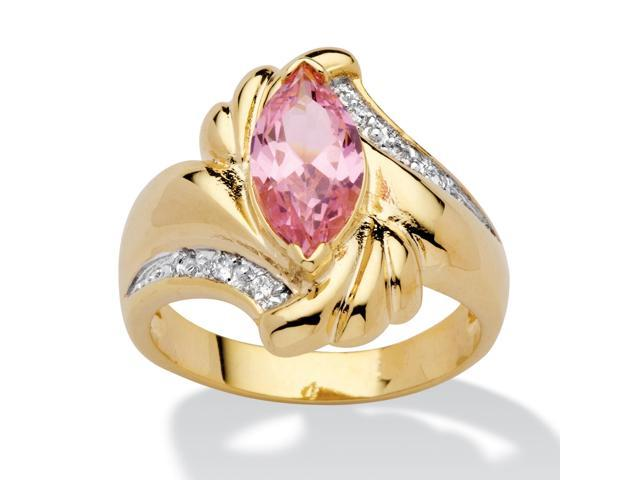 PalmBeach Jewelry 2.05 TCW Marquise-Cut Pink Cubic Zirconia Ring in 14k Gold-Plated