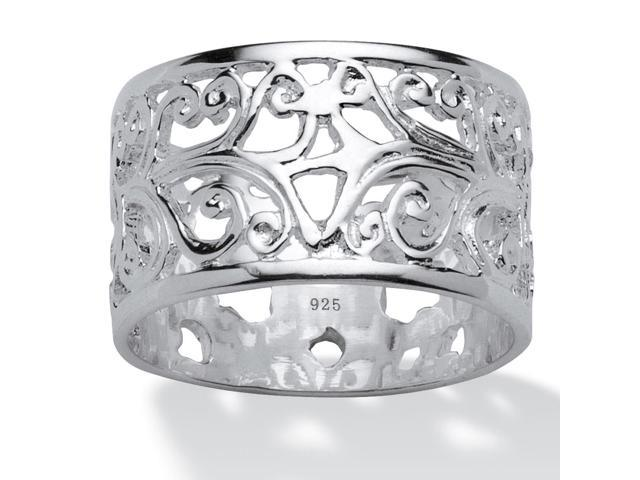 PalmBeach Jewelry Vintage-Inspired Filigree Band in Sterling Silver