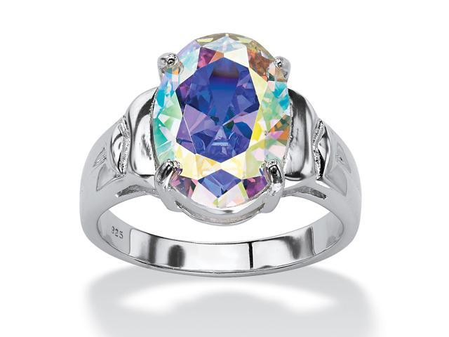 PalmBeach Jewelry 5.81 TCW Oval-Cut Aurora Borealis Cubic Zirconia Cocktail Ring in Sterling Silver