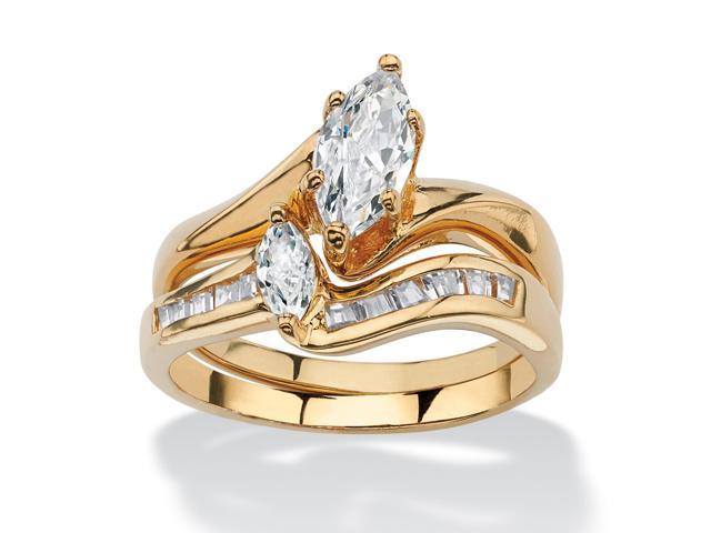 PalmBeach Jewelry 1.38 TCW Marquise-Cut Cubic Zirconia Bridal Ring Set in 14k Gold-Plated