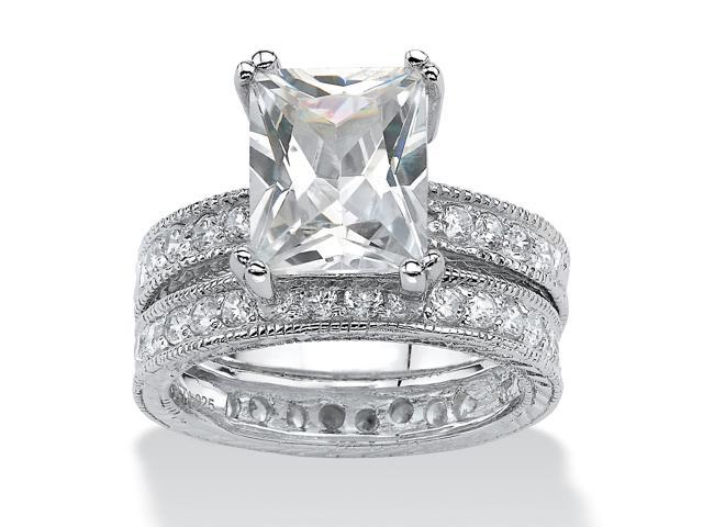 PalmBeach Jewelry 2 Piece 5.98 TCW Emerald-Cut Cubic Zirconia Bridal Ring Set in Sterling Silver