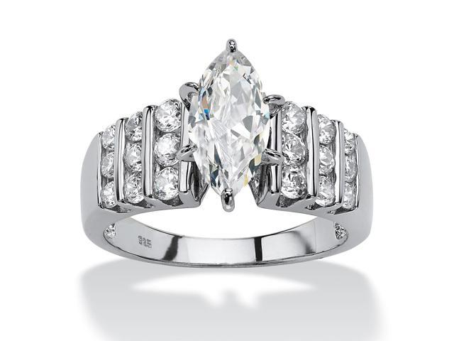2.84 TCW Marquise-Cut Cubic Zirconia Engagement Anniversary Ring in Platinum over Sterling Silver-393907