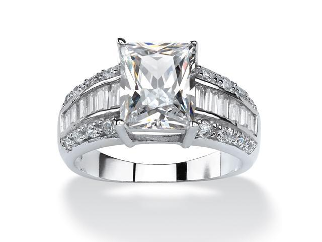 4.94 TCW Emerald-Cut Cubic Zirconia Engagement Anniversary Ring in Platinum over Sterling Silver