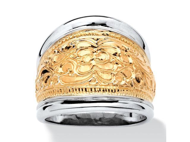 14k Yellow Gold-Plated Sterling Silver Two-Tone Scroll Motif Cigar Band Ring-493747