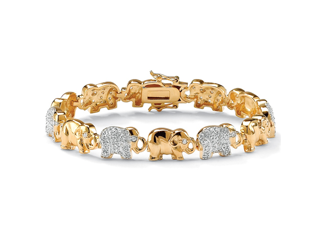 PalmBeach Jewelry 1.32 TCW Pave Cubic Zirconia Elephant Bracelet in 18k Gold over Sterling Silver