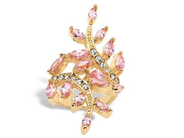 3.40 TCW Marquise-Cut Pink Cubic Zirconia with Crystal Accents Leaf Ring in 14k Gold-Plated