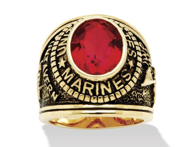 Men's Oval-Cut Simulated Red Ruby Marines Ring Antique 14k Yellow Gold-Plated-6383_9