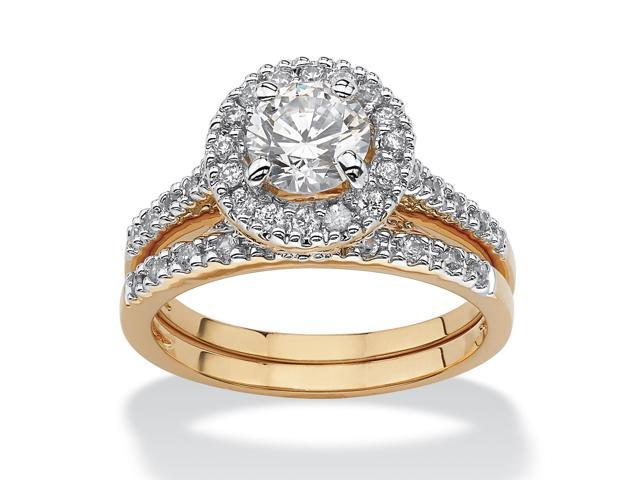1.79 TCW Round Cubic Zirconia 18k Gold-Plated Bridal Engagement Ring Wedding Band Set-509698