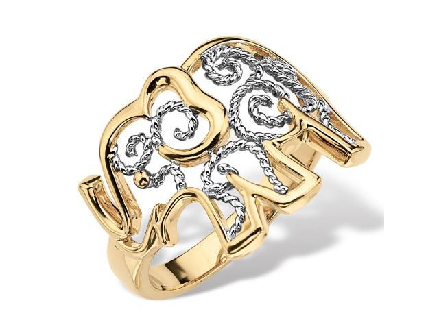 PalmBeach Jewelry Two-Tone 18k Gold-Plated Elephant Filigree Ring