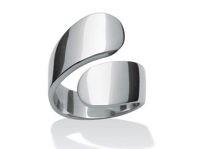 PalmBeach Jewelry Stainless Steel Freeform Bypass Ring