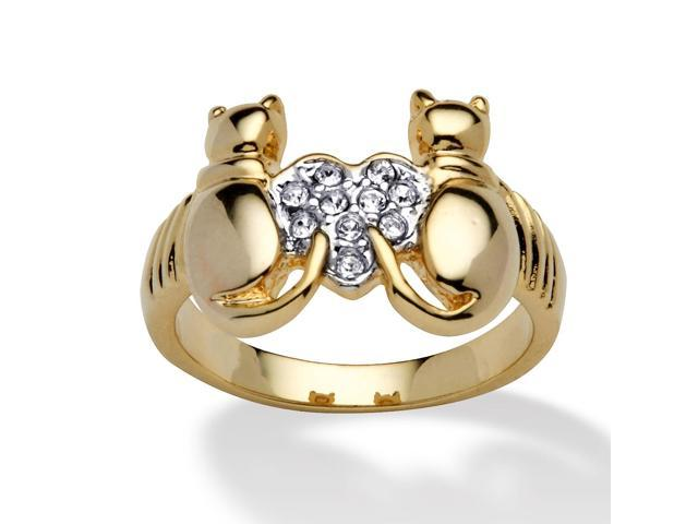 PalmBeach Jewelry Round Crystal 14k Yellow Gold-Plated Cats and Heart Ring