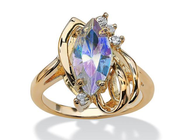PalmBeach Jewelry Marquise-Cut Aurora Borealis Crystal Cocktail Ring in 14k Gold-Plated