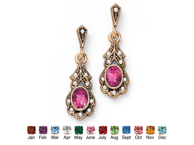 Oval-Cut Birthstone Drop Earrings in Antiqued Yellow Gold Tone - October- Simulated Tourmaline