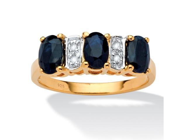 1.80 TCW Oval-Cut Genuine Blue Sapphire and Diamond Accent Ring in 18k Gold Over Sterling Silver