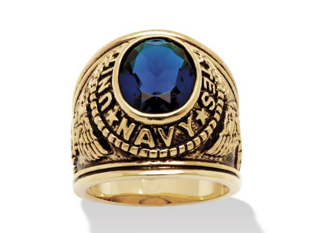 PalmBeach Jewelry Men's Oval-Cut Simulated Sapphire Navy Ring in Antiqued 14k Gold-Plated
