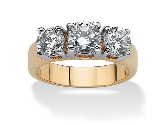 PalmBeach Jewelry 2.28 TCW Round Cubic Zirconia Three-Stone Anniversary Ring 14k Gold-Plated