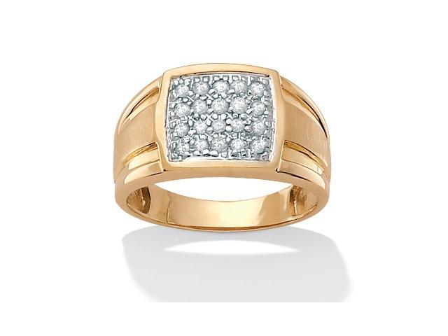 PalmBeach Jewelry Men's 1/4 TCW Round Diamond Pave 18k Gold over Sterling Silver Ring