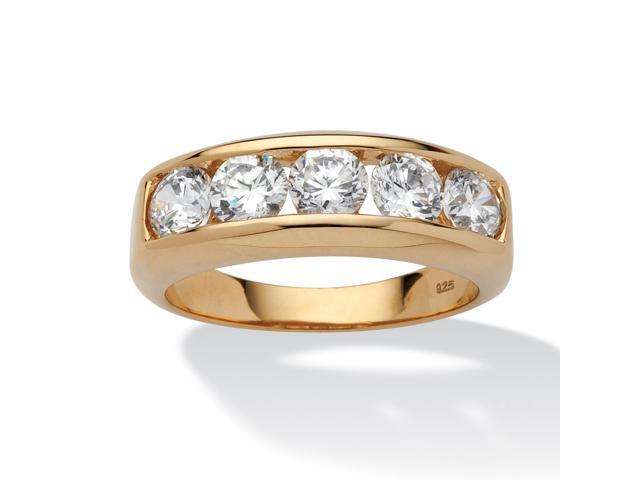 Men's 2.50 TCW Round Cubic Zirconia Wedding Band in 18k Gold over Sterling Silver Sizes 8-16
