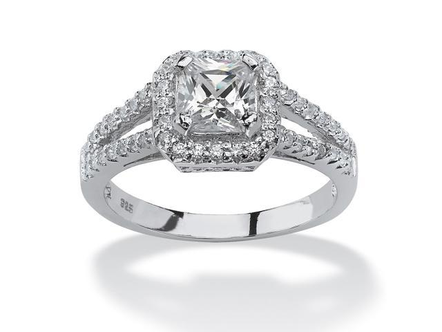 1.63 TCW Princess-Cut Cubic Zirconia Engagement Ring in Platinum over Sterling Silver