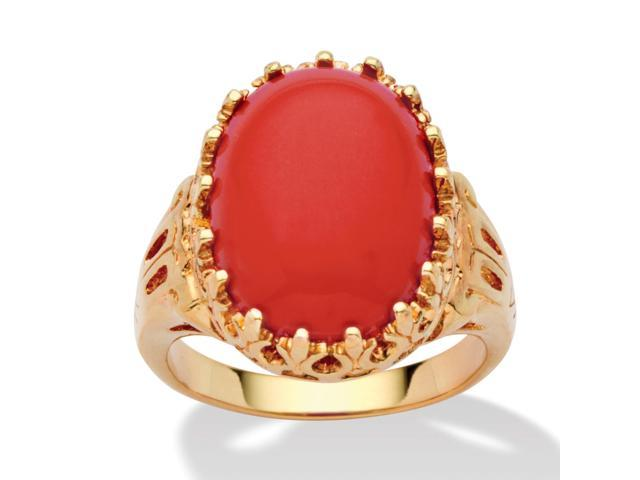 PalmBeach Jewelry Oval Simulated Coral 14k Yellow Gold-Plated Cabochon Filigree Cocktail Ring