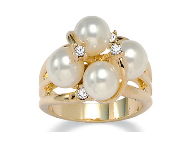 PalmBeach Jewelry Round Simulated Pearl and Austrian Crystal Accent Ring in 14k Yellow Gold-Plated