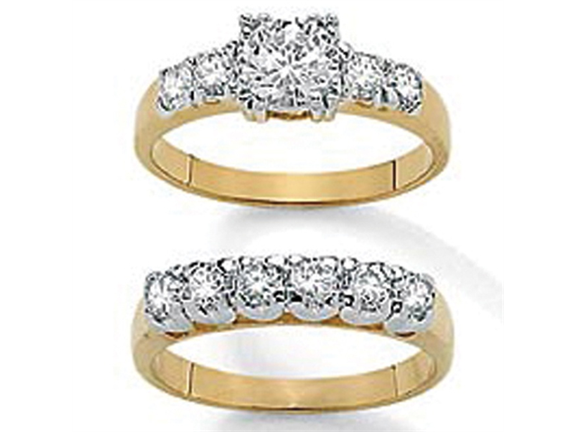 2.15 TCW Round Cubic Zirconia 14k Yellow Gold-Plated Two-Piece Bridal Engagement Set