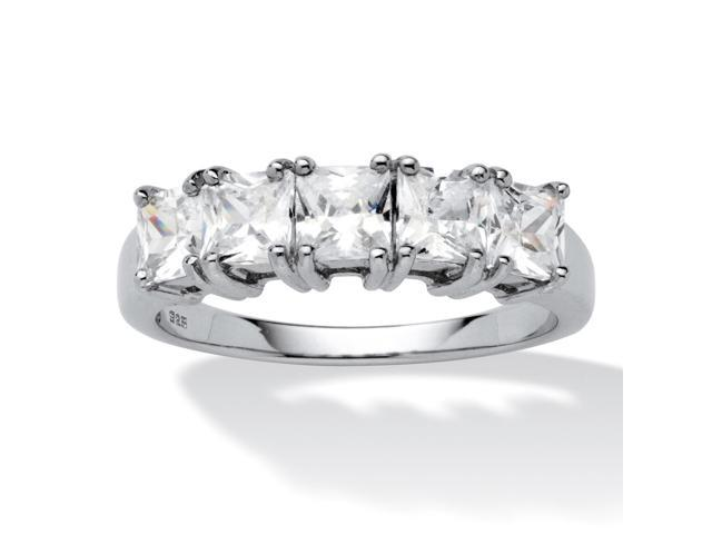 1.85 TCW Princess-Cut Cubic Zirconia Platinum over Sterling Silver Wedding Band Ring