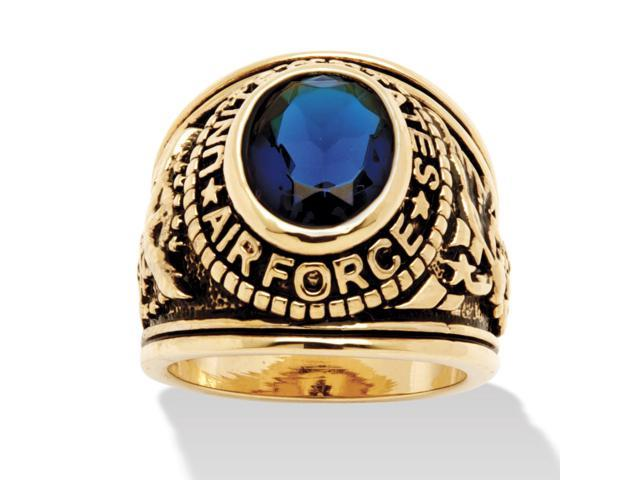 PalmBeach Jewelry Men's Oval-Cut Simulated Sapphire Air Force Ring in Antiqued 14k Gold-Plated