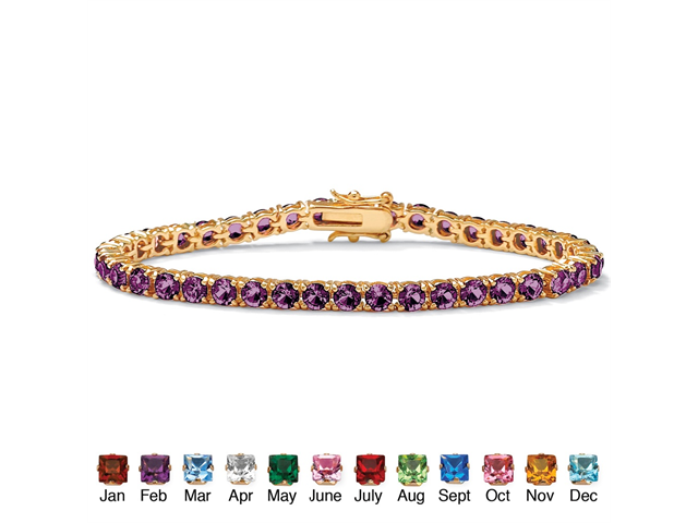 PalmBeach Jewelry Round Birthstone Tennis Bracelet in 18k Gold-Plated - February- Simulated Amethyst
