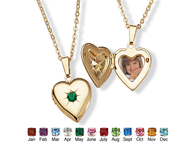 PalmBeach Jewelry Birthstone Heart Locket Necklace in Yellow Gold Tone - May- Simulated Emerald