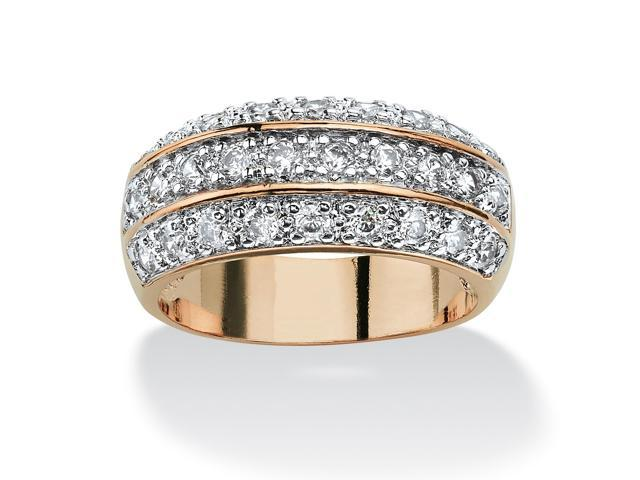 PalmBeach Jewelry 1.68 TCW Round Cubic Zirconia Triple Row Anniversary Ring in 14k Gold-Plated