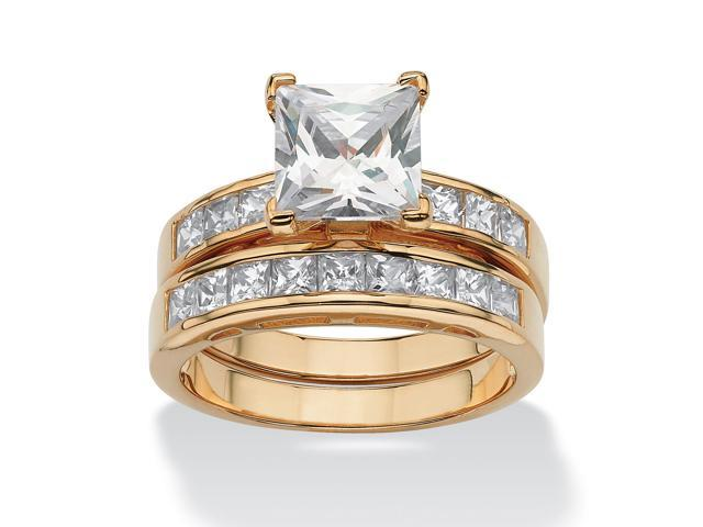 PalmBeach Jewelry 3.65 TCW Cubic Zirconia Bridal Ring Set in 18k Gold over .925 Sterling Silver