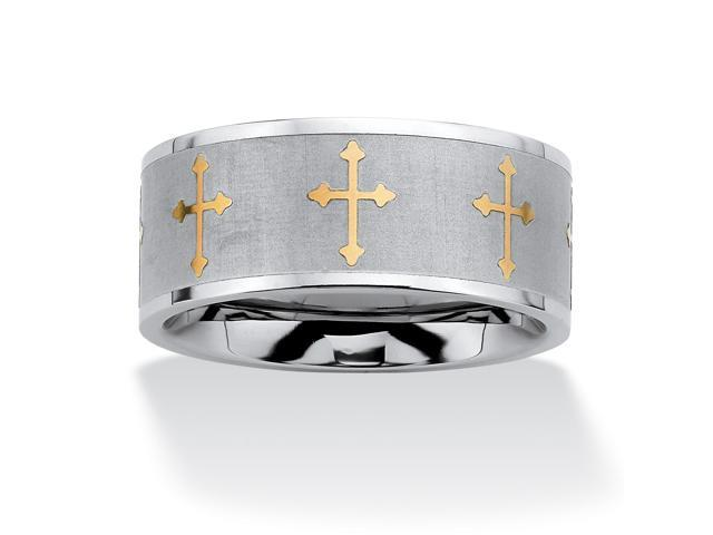 PalmBeach Jewelry Cross Eternity Two-Tone Band in Stainless Steel and Gold Tone