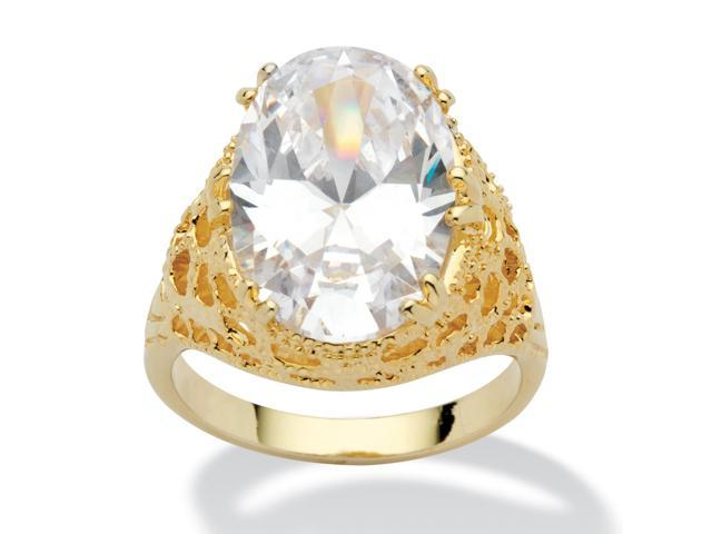 PalmBeach Jewelry 9.32 TCW Oval Cut Cubic Zirconia 14k Yellow Gold-Plated Textured Cocktail Ring