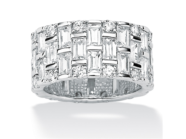 PalmBeach Jewelry 5.12 TCW Baguette Cubic Zirconia Eternity Band in Platinum over Sterling Silver