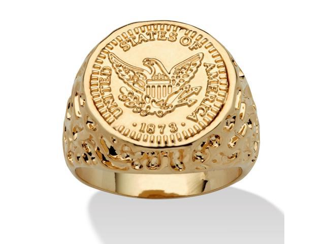 PalmBeach Jewelry Men's 14k Gold-Plated American Eagle Coin Replica Nugget-Style Ring