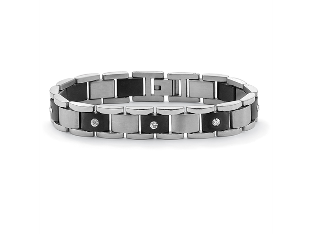 PalmBeach Jewelry Men's Crystal Accent Bar-Link Bracelet in Black Ion-Plated Stainless Steel