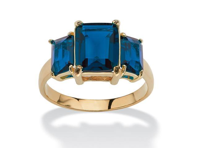 PalmBeach Jewelry Emerald-Cut Triple Birthstone Ring 18k Gold-Plated - September- Simulated Sapphire