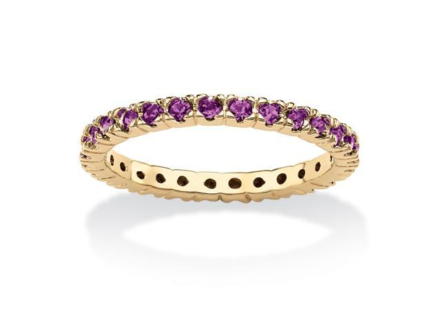 PalmBeach Jewelry Round Birthstone 18k Gold-Plated Stackable Eternity Band- February
