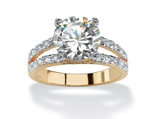 4.42 TCW Round Cubic Zirconia 14k Gold-Plated Engagement Anniversary Split-Shank Ring