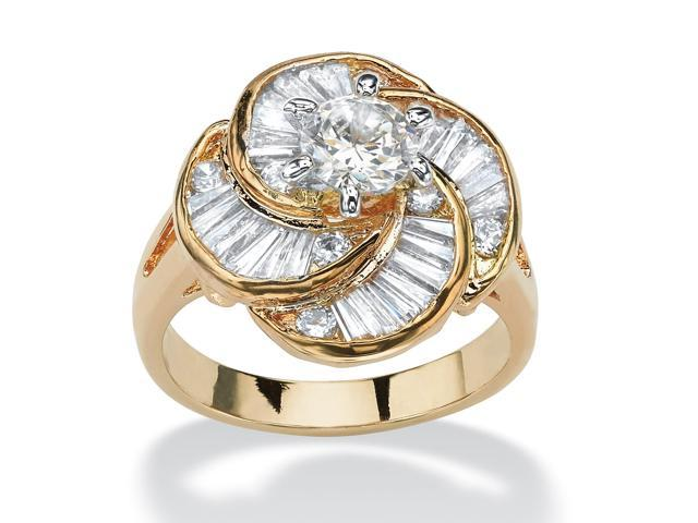 PalmBeach Jewelry 6.76 TCW Round Cubic Zirconia 14k Gold-Plated Cocktail Ring