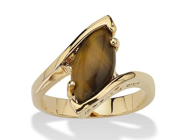 PalmBeach Jewelry Marquise-Shaped Genuine Tiger's-Eye 14k Yellow Gold-Plated Cocktail Ring