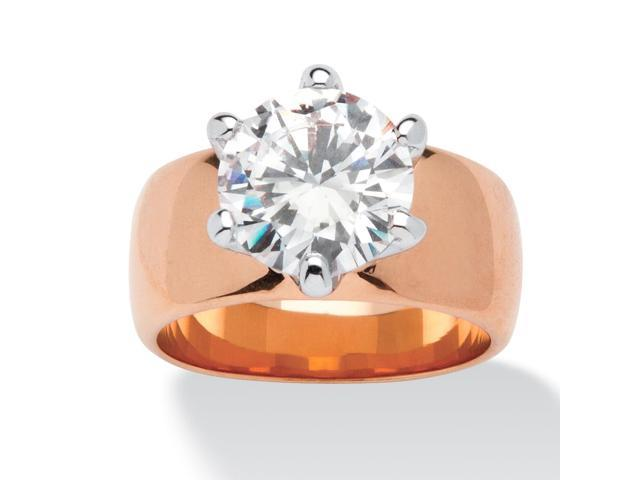 PalmBeach Jewelry 4 TCW Round Cubic Zirconia Solitaire Ring in Rose Gold-Plated