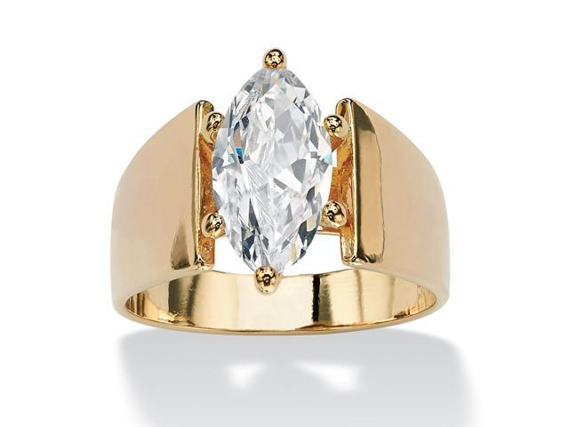 2.48 TCW Marquise-Cut Cubic Zirconia Solitaire Engagement Anniversary Ring in 14k Gold-Plated