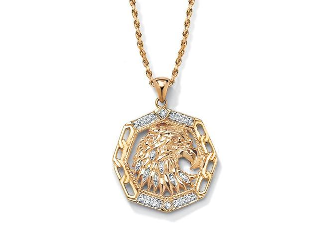 PalmBeach Jewelry Men's Diamond Accented Eagle Pendant in 18k Gold over Sterling Silver
