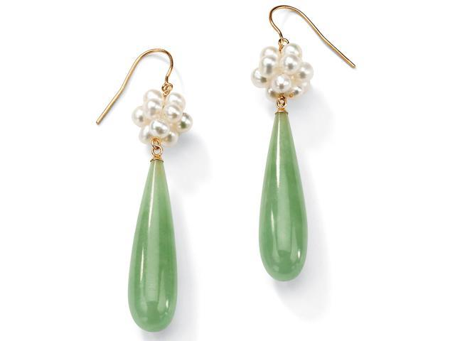 PalmBeach Jewelry Jade and Cultured Freshwater Pearl Accent 10k Yellow Gold Drop Earrings