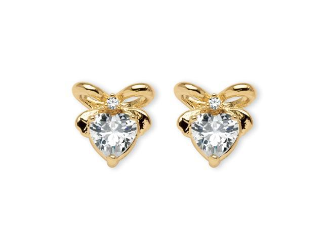 PalmBeach Jewelry 2.30 TCW Heart-Shaped Cubic Zirconia 14k Gold-Plated Stud Bow-Shaped Earrings