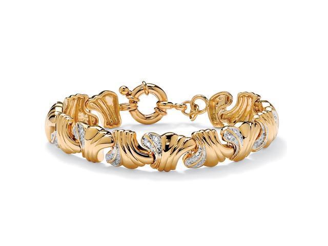 PalmBeach Jewelry .19 TCW Round Diamond 14k Yellow Gold-Plated Wave-Link Bracelet 7 1/2