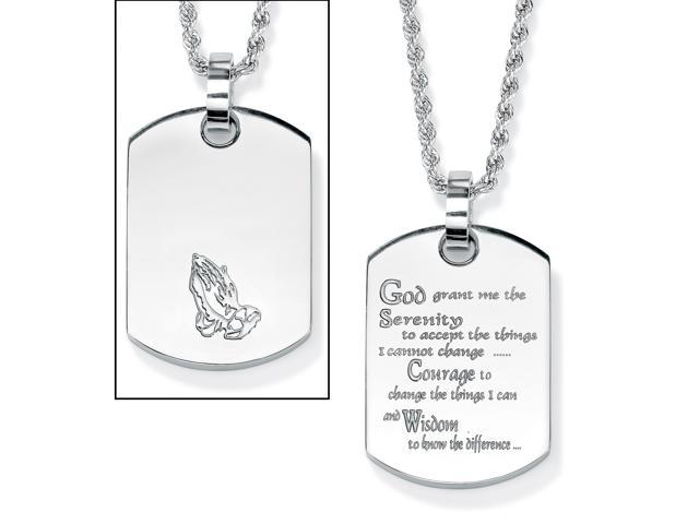 PalmBeach Jewelry Serenity Prayer Dog Tag Necklace in Stainless Steel 18