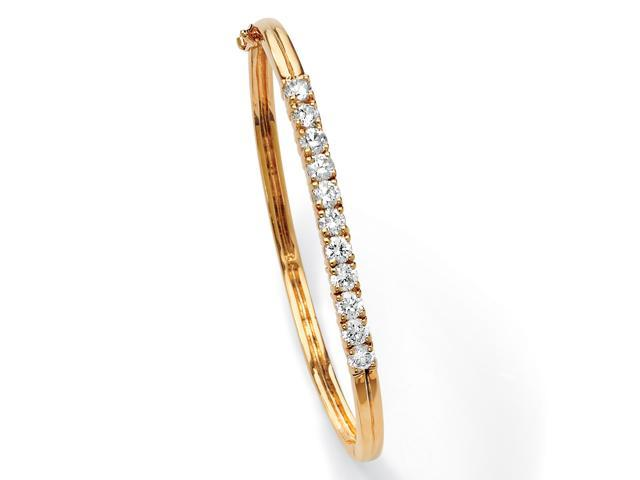 PalmBeach Jewelry 2.75 TCW Round Cubic Zirconia 18k Gold-Plated Bangle Bracelet 7 3/4